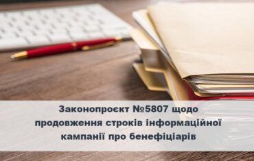 Законопроект №5807 о продлении сроков информационной кампании о бенефициарах